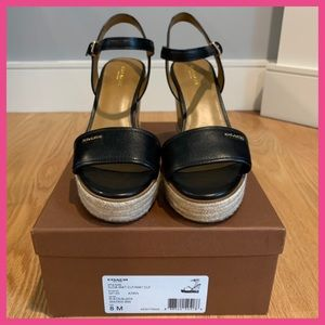 COACH Elda Ankle Strap Espadrille Wedge Sandals 8
